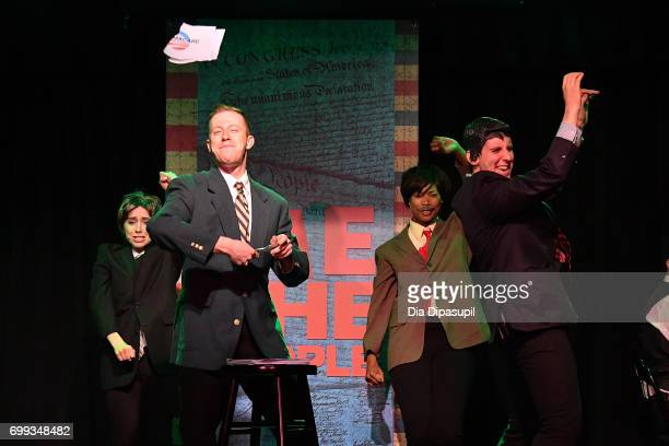 Mia Weinberger Mitchel Kawash Aiesha Alia Dukes and Richard Spitaletta perform onstage during the 'ME THE PEOPLE The Trump America Musical' Press...