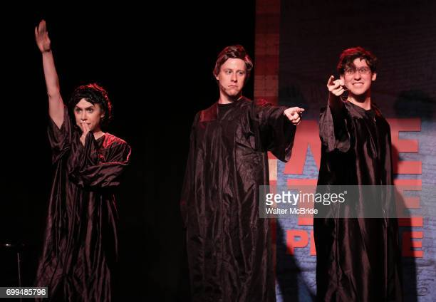 Mia Weinberger Mitchel Kawash and Richard Spitaletta perform onstage during the 'ME THE PEOPLE The Trump America Musical' Press Preview Presentation...
