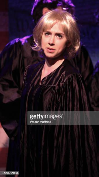Mia Weinberger performs onstage during the 'ME THE PEOPLE The Trump America Musical' Press Preview Presentation at The Triad Theater on June 21 2017...