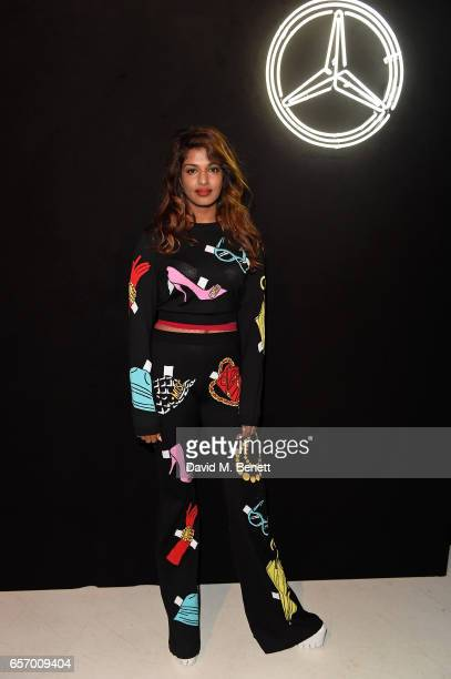 Aattends the MercedesBenz #mbcollective launch party with MIA Tommy Genesis at 180 The Strand on March 23 2017 in London England