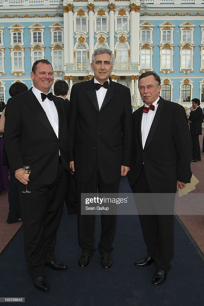 Miachel Suess (L), CEO Fossil Power Generation of Siemens AG, CEO of Siemens AG, <a gi-track='captionPersonalityLinkClicked' href=/galleries/search?phrase=Peter+Loescher&family=editorial&specificpeople=4296846 ng-click='$event.stopPropagation()'>Peter Loescher</a>, and Dietrich Moeller, President of Siemens Russia attends the Mariinsky Ball of Montblanc White Nights Festival at Catherine Palace on June 19, 2010 in Pushkin near Saint Petersburg, Russia.