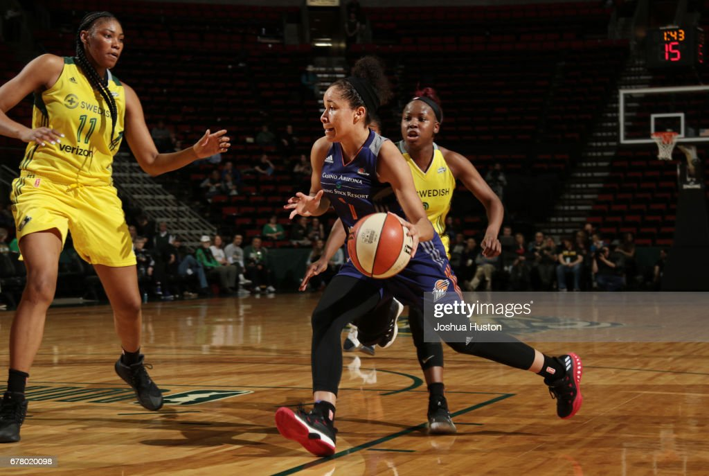 Miah Spencer #1 of the Phoenix Mercury handles the ball during a game against the Seattle Storm on May 3, 2017 at Key Arena in Seattle, Washington.