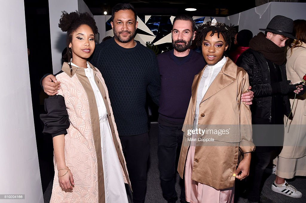 Miambi, designers Ryan Lobo, Ramon Martin, and Thambi Wi seen during day 4 of New York Fashion Week: The Shows at XX on February 14, 2016 in New York City.