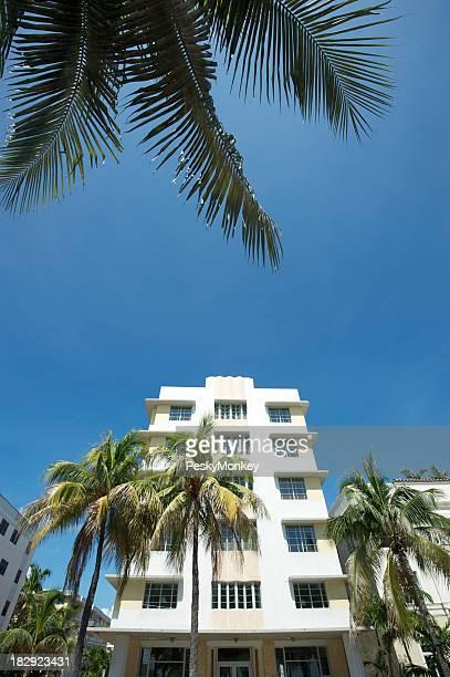Miami Art Deco Building w Palm Fronds