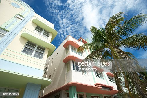 Miami Art Deco Drive Architecture Blue Sky Palm Trees