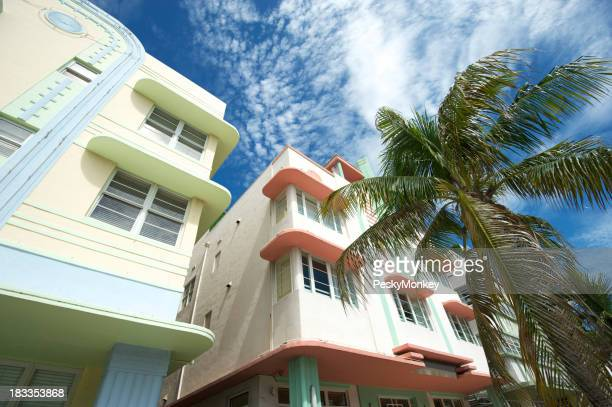 Miami Art Deco Drive Architecture Blue Sky Palm Trees