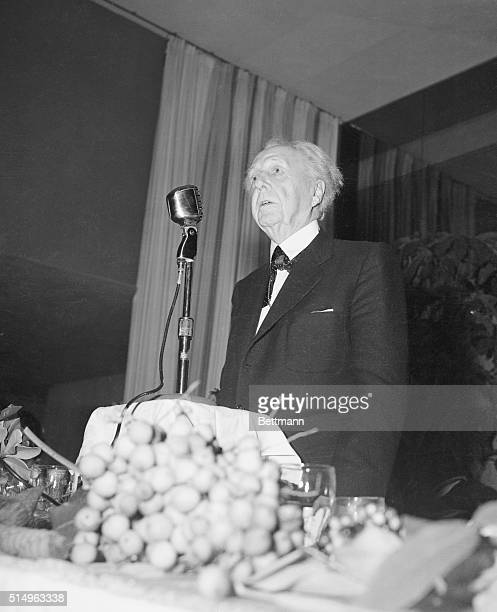 Miami Beach Florida Frank Lloyd Wright internationally known architect as he addressed more than 500 guests at a luncheon was sponsored by the...