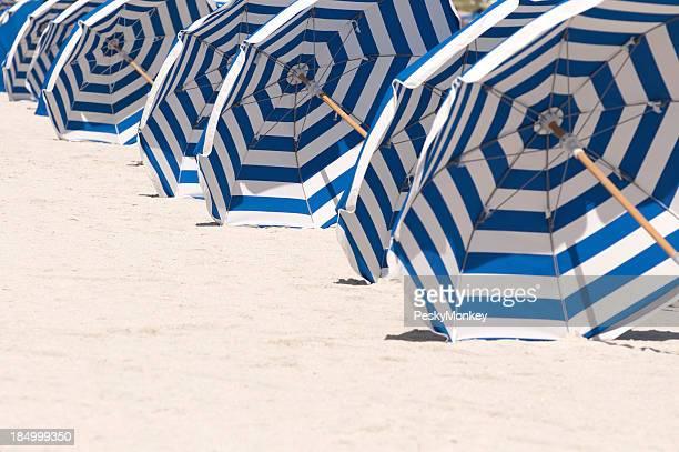 Miami Beach file di ombrelloni a righe bianche e blu