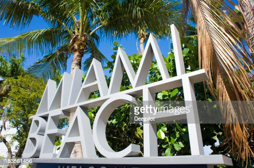 Miami Beach Sign in Florida USA