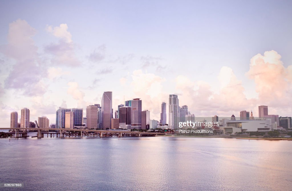 Florida City (FL) United States  city pictures gallery : Stock Photo : Miami city skyline and harbor, Florida, United States