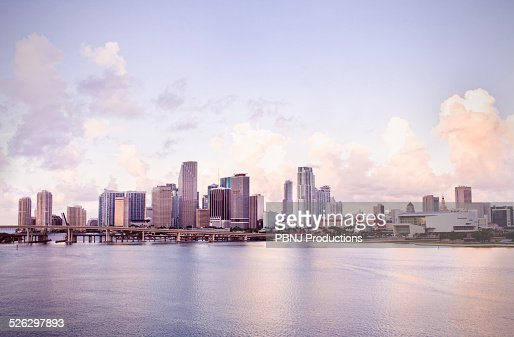 Miami city skyline and harbor, Florida, United States