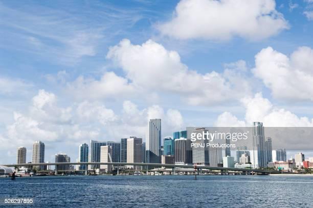 Miami city skyline and harbor, Florida, United States