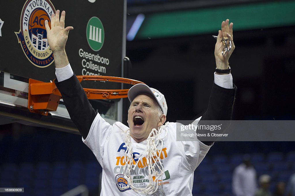Miami coach Jim Larranaga celebrates after cutting down the net following the Hurricanes' 87-77 victory over North Carolina in the finals of the men's ACC basketball tournament at the Greensboro Coliseum in Greensboro, North Carolina, Sunday, March 17, 2013.