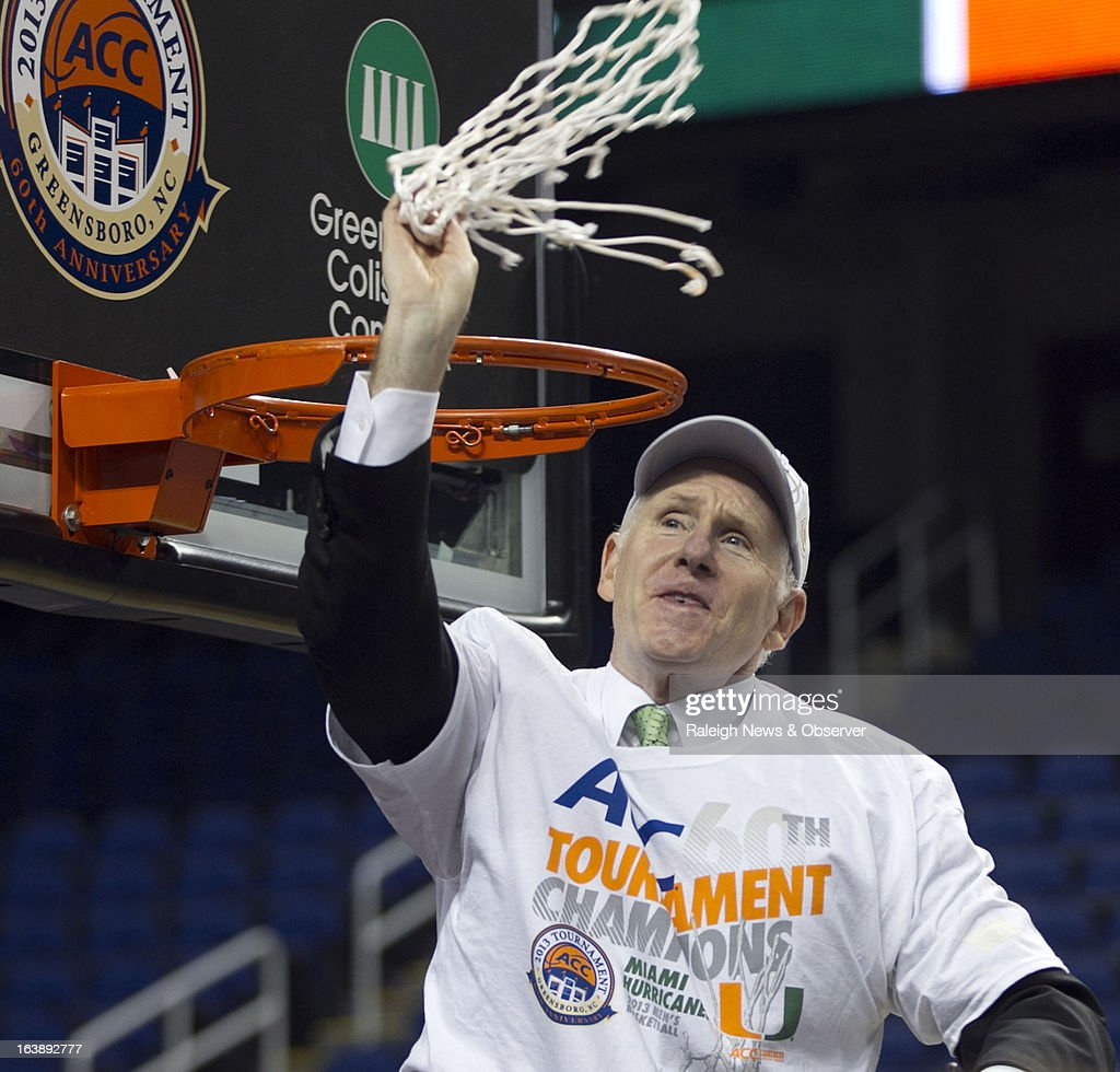 Miami coach Jim Larranaga celebrates after cutting down the net following the Hurricanes' 87-77 victory over North Carolina Tar Heels in the finals of the men's ACC basketball tournament at the Greensboro Coliseum in Greensboro, North Carolina, Sunday, March 17, 2013.