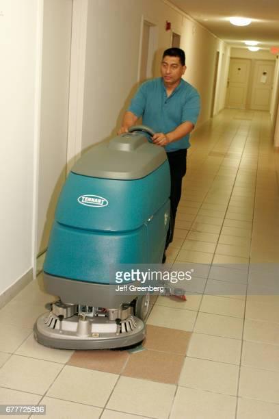 Miami Custodian waxing floors