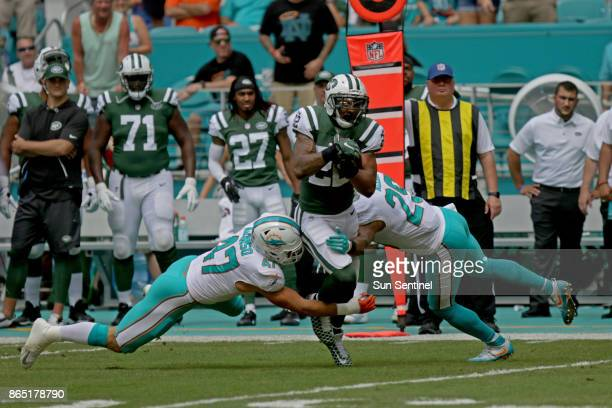 Miami Dolphins linebacker Kiko Alonso goes for New York Jets running back Matt Forte on Sunday Oct 22 2017 at Hard Rock Stadium in Miami Gardens Fla