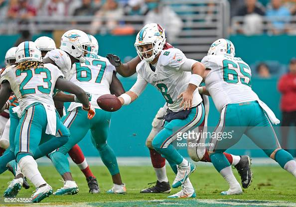 Miami Dolphins quarterback Matt Moore hands off during an NFL football game between the Arizona Cardinals and the Miami Dolphins on December 11 2016...