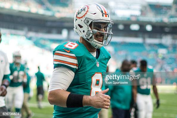 Miami Dolphins quarterback Matt Moore looks on during the NFL football game between the San Francisco 49ers and the Miami Dolphins on November 27 at...