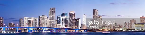 Miami Downtown City Skyline at Night USA