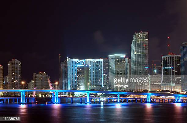 miami downtown skyline detail at night