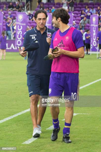 Miami FC Head Coach Alessandro Nesta talks with Orlando City SC midfielder Kaka before the Open Cup soccer match between Miami FC and Orlando City SC...