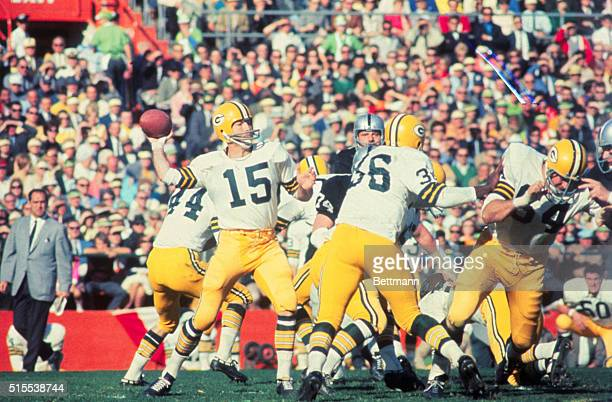Bart Starr of the Greenbay Packers is shown Passing the Ball during the 1968 Superbowl against the Oakland Raiders