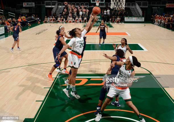Miami forward Keyona Hayes grabs a rebound during a women's college basketball game between the University of Virginia Cavaliers and the University...