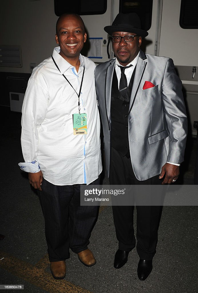 Miami Gardens Mayor Oliver G. Gilbert III and Bobby Brown pose backstage at the 8th Annual Jazz In The Gardens Day 1 at Sun Life Stadium presented by the City of Miami Gardens on March 16, 2013 in Miami Gardens, Florida.