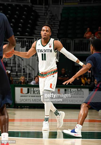 Miami guard Bruce Brown dribbles during an NCAA basketball game between the South Carolina State Bulldogs and the University of Miami Hurricanes on...