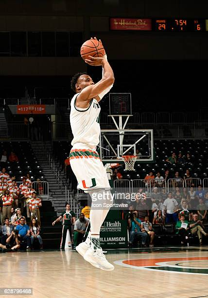 Miami guard Bruce Brown shoots during an NCAA basketball game between the South Carolina State Bulldogs and the University of Miami Hurricanes on...