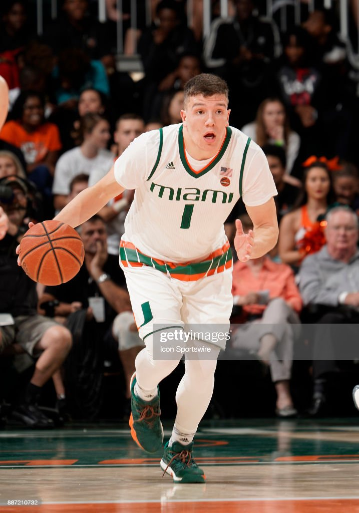 Miami guard Dejan Vasiljevic (1) plays during a college basketball game between the Boston University Terriers and the University of Miami Hurricanes on December 5, 2017 at the Watsco Center, Coral Gables, Florida. Miami defeated Boston U