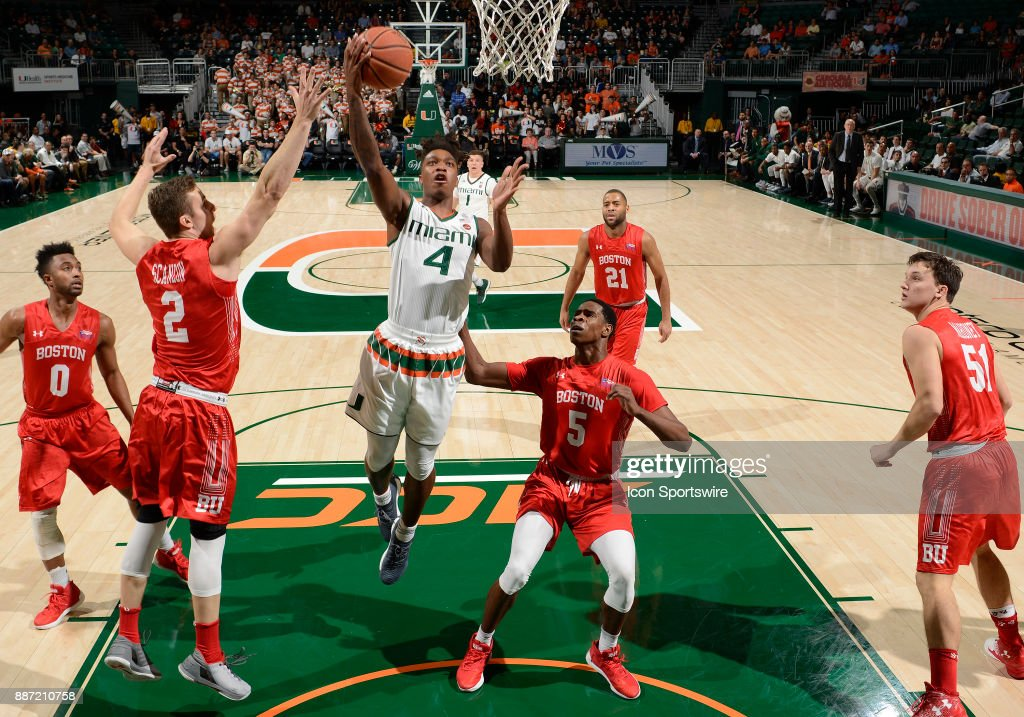 Miami guard Lonnie Walker IV (4) shoots during a college basketball game between the Boston University Terriers and the University of Miami Hurricanes on December 5, 2017 at the Watsco Center, Coral Gables, Florida. Miami defeated Boston U