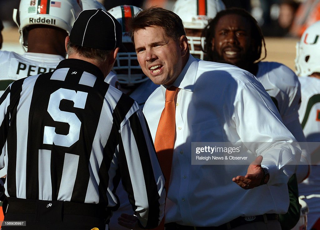 Miami head coach Al Golden argues with a game official after an apparent touchdown by the Hurricanes was voided at Wallace Wade Stadium on Saturday, November 24, 2012, in Durham, North Carolina. The Miami Hurricanes defeated the Duke Blue Devils, 52-45.