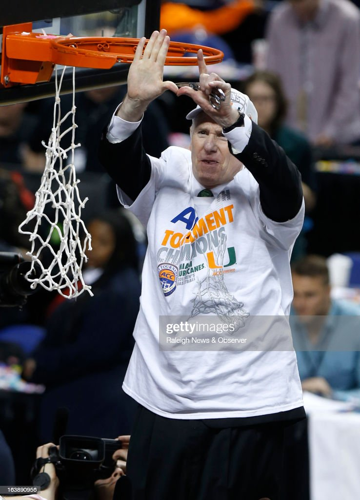 Miami head coach Jim Larranaga celebrates before cutting down the net after the Hurricanes' 87-77 victory over North Carolina in the finals of the men's ACC basketball tournament at the Greensboro Coliseum in Greensboro, North Carolina, Sunday, March 17, 2013.
