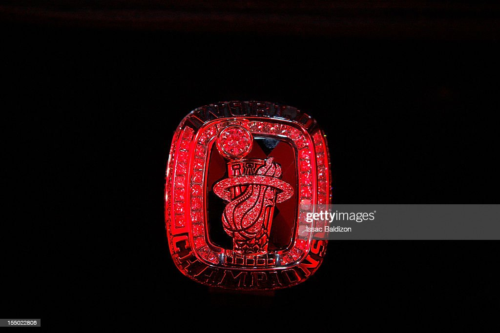 A Miami Heat 2012 NBA Championship ring on October 30, 2012 at American Airlines Arena in Miami, Florida.