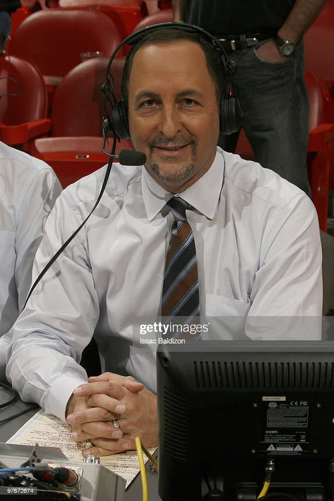 Miami Heat announcer Eric Reid broadcasts as the Miami Heat play the Chicago Bulls on March 12, 2010 at American Airlines Arena in Miami, Florida.
