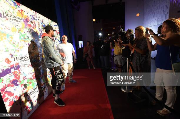 Miami Heat basketball player James Johnson and Miamibased Hip hop artist Fat Joe attends Hennessy VS Limited Edition by JonOne launch party at...