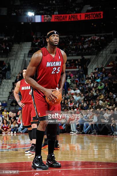 Miami Heat center Erick Dampier during a game against the Detroit Pistons on March 23 2011 at The Palace of Auburn Hills in Auburn Hills Michigan The...