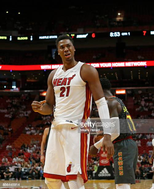 Miami Heat center Hassan Whiteside reacts after a play during the first quarter of an NBA preseason basketball game againts the Atlanta Hawks on...