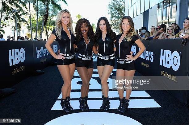 Miami Heat dancers perform at the HBO Ballers Season 2 Red Carpet Premiere and Reception on July 14 2016 at New World Symphony in Miami Beach Florida