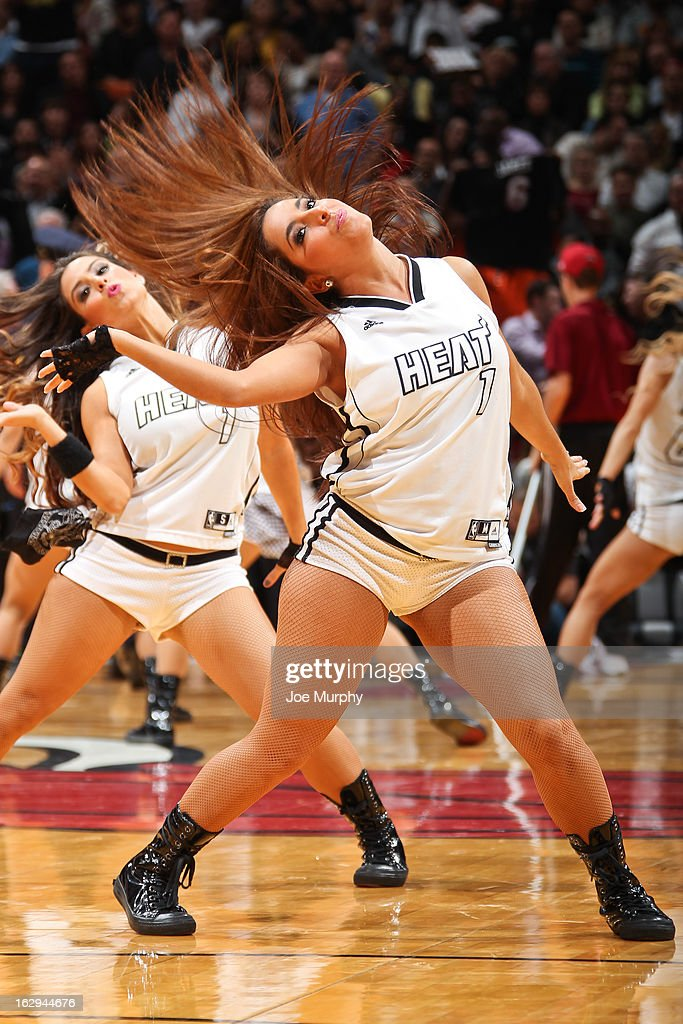 Miami Heat dancers perform during a game against the Memphis Grizzlies on March 1, 2013 at American Airlines Arena in Miami, Florida.