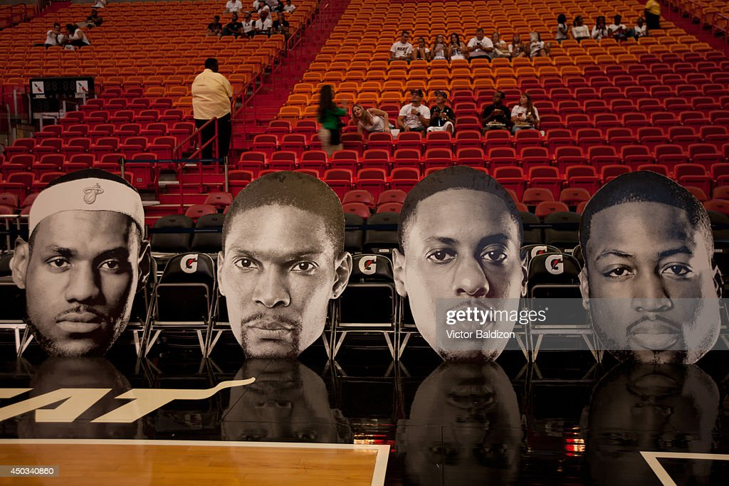 Miami Heat fans gather to watch Game One of the NBA finals on June 5, 2014 at American Airlines Arena in Miami.