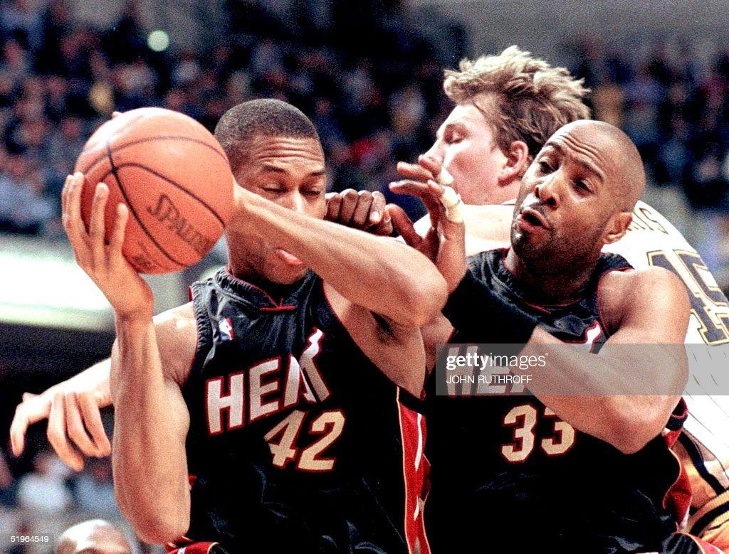 Miami Heat forward P J Brown 42 and center Alon