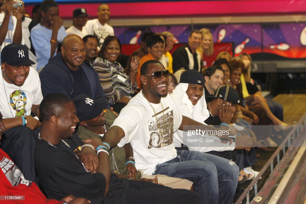 Miami Heat guard Dwyane Wade Cleveland Cavaliers forward Lebron James Denver Nuggets forward Carmelo Anthony and DJ Clue enjoy the finals during the...