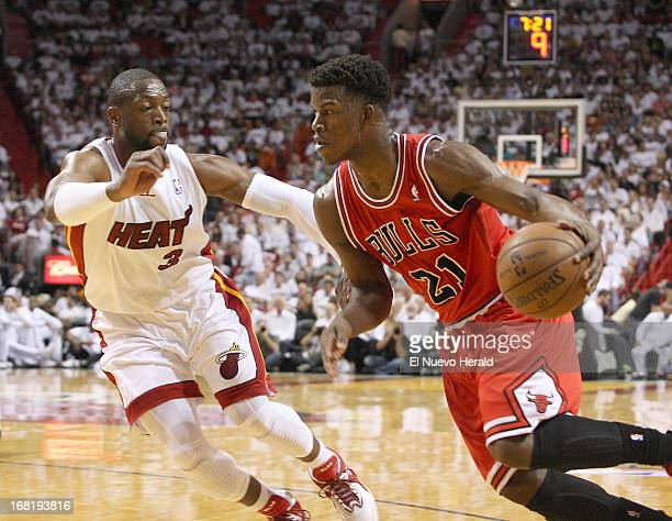 Miami Heat guard Dwyane Wade guards Chicago Bulls guard Jimmy Butler during firstquarter action in the NBA Eastern Conference playoffs at the...