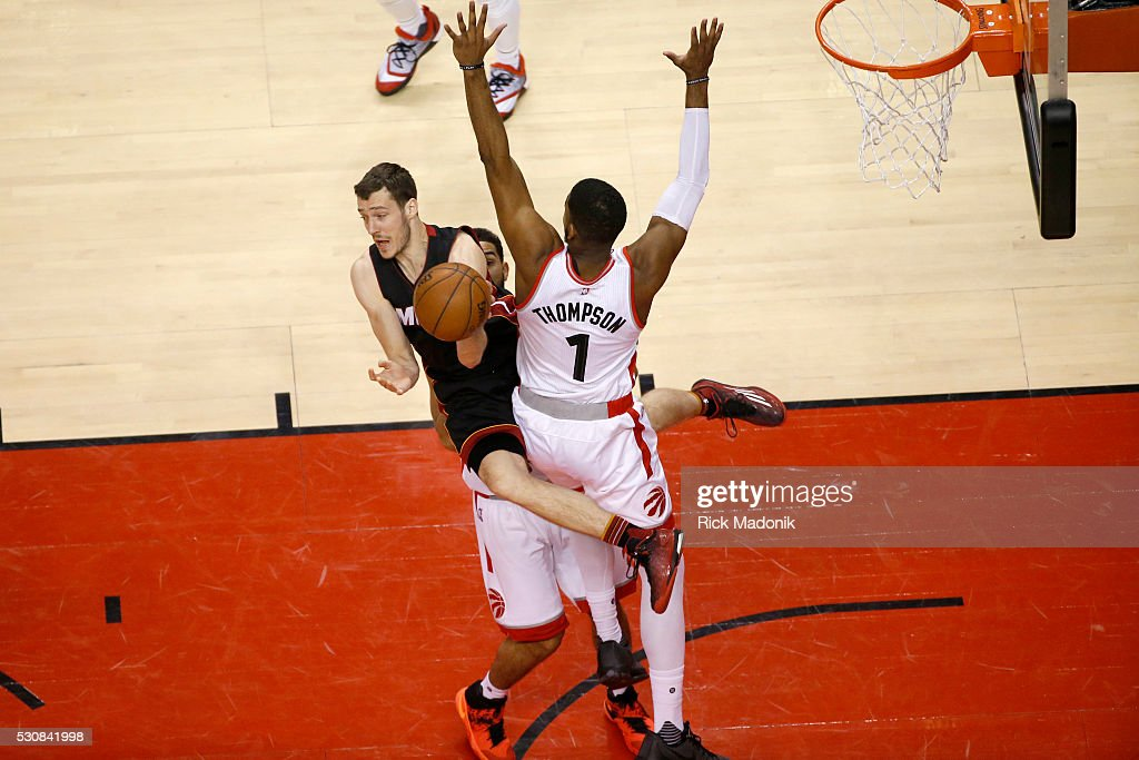 Miami Heat guard Goran Dragic scissors Toronto Raptors forward Jason Thompson who made his first appearance in the series Toronto Raptors V Miami...