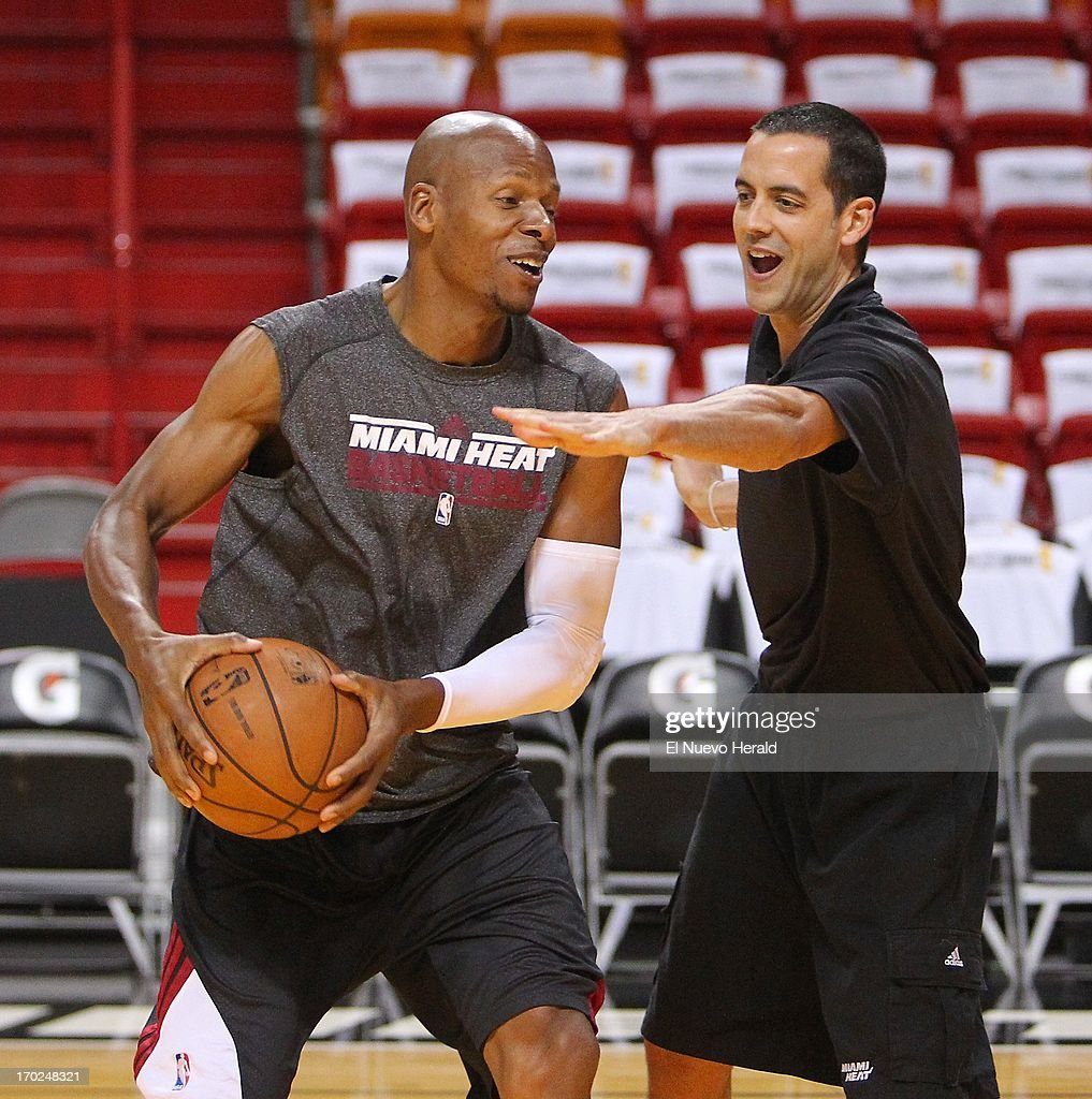 Miami Heat guard Ray Allen is defended by Heat video intern Eric Glass during practice at the AmericanAirlines Arena in Miami, Florida, Sunday, June 9, 2013. The Heat will face the San Antonio Spurs in Game 2 of the NBA Finals.
