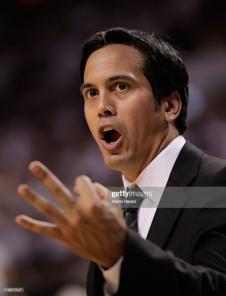 Miami Heat head coach Erik Spoelstra argues with official Joe Crawford after three fouls are called on LeBron James in the second quarter of Game 2 of the 2011 NBA Finals against the Dallas Mavericks at the AmericanAirlines Arena in Miami, Florida, Thursday, June 2, 2011.