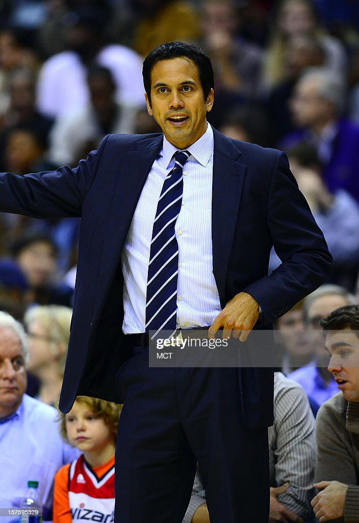 Miami Heat head coach Erik Spoelstra directs his team against the Washington Wizards in the third quarter at the Verizon Center in Washington, D.C., Tuesday, December 4, 2012.