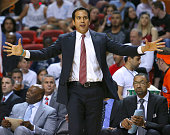 Miami Heat head coach Erik Spoelstra gives instructions to his team during the second quarter against the Toronto Raptors at AmericanAirlines Arena...